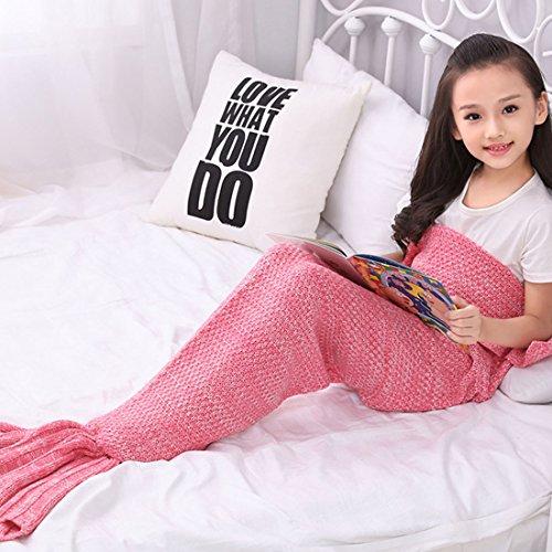 Ericoy Meerjungfrau Decke, Handgemachte häkeln meerjungfrau flosse decke für , Mermaid Blanket alle Jahreszeiten Schlafsack Erwachsene / Kind / Baby(Pinke)M