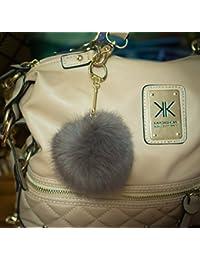 Llavero en forma de pompón de forro, 3 x 2, 8 cm, diseño elegante  marrón Pompom diameter: 8cm, Chain length: 7cm