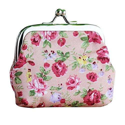 Amlaiworld Frauen Lady Retro Vintage Flower kleine Brieftasche Hasp Handtasche Clutch Bag (rosa) (Brieftasche Kupplung)