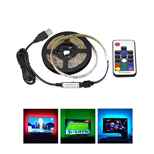 LED-Streifenlicht RGB SMD3528, USB-Stecker Seil Licht mit 62 LEDS/M Multi Farbwechsel, flackernde Fernbedienung, TV-Rücklicht Band flexible Band Licht für zu Hause, Schlafzimmer, Tanzfläche (Multi-seil-leuchten)
