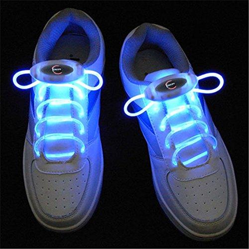 JiuRui LED Light & Lamp 1 Paar 80 cm Glow Schnürsenkel LED Sport Schnürsenkel Glow Stick Blinkt Neon Leuchtenden Schnürsenkel, Warmweiß Weiß Rot Grün Gelb Rosa Blau RGB (Color : Blue) -