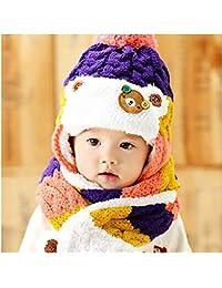 HuntGold ours mignon bébé hiver rayé laine chapeaux chaud oreillette avec écharpe violet