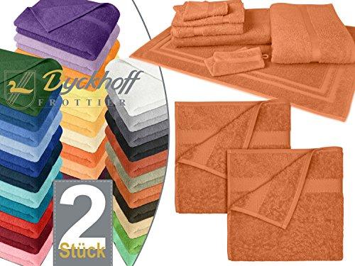 Sparpack zum Vorteilspreis - Frottiertücher der Serie Opal aus dem Hause Dyckhoff - erhältlich in 33 modernen Farben und 7 verschiedenen Größen, 1 Pack (2 Stück) - Handtücher [50 x 100 cm], terracotta
