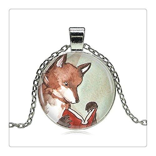 fox-halskette-woodland-creature-lesen-fox-bucher-marchen-bibliophiles-fashion-handgefertigt-vintage-