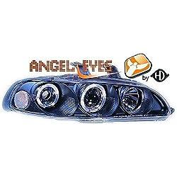 Diederichs 5205280 LHD Right Left Passenger Driver Side RH LH Projector Headlight Headlamp Pair Angel Eyes Clear Black