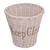 Papierkorb Keep Clean Weiß Rattankorb Rattan Flechtkorb