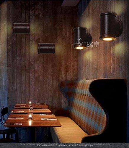 BOOTU Bougeoir LED et descendre appliques Retro Loft paroi du tuyau d'air industriel léger passage escalier restaurant bar chambre couloir appliques, noir, diamètre 10 cm de hauteur cm-13.5