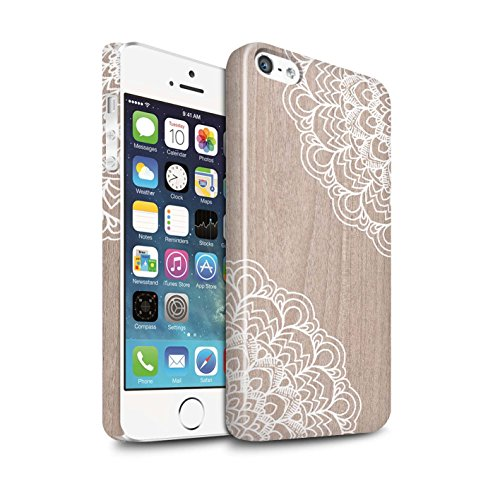 STUFF4 Glanz Snap-On Hülle / Case für Apple iPhone 5/5S / Zart Damast Muster / Fein Spitzenborte Holz Kollektion Ahornholz
