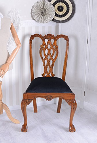 Vintage Esszimmerstuhl Chippendale Stuhl Mahagoni Antik Stil Palazzo Exklusiv (Chippendale Stuhl)