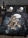 Alchemy Gothic Einzelbett-Bettwäsche-Set, Motiv Werwolf bei Vollmond, Totenköpfe, Fledermäuse, Friedhof, Ketten, schwarz, blau, braun, weiß