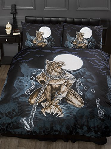 Double Bed Loups Garou, Alchemy Gothic Duvet / Quilt Cover Bedding Set, Werewolf, Full Moon, Wolf, Skulls, Bats, Graveyard, Chains, Black, Blue, Brown, White by Alchemy - Garou Halloween Loup