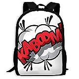 Deglogse Sac à Dos d'école, Cartable, Backpack Comic Effect Kaboom Zipper School Bookbag Daypack Travel Rucksack Gym Bag for Man Women