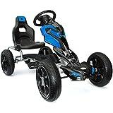 Joy 4Kids Scout # Go Kart à Pédale, porteur voiture à pédale, Go Chariot, pneus Eva 5–12ans Bleu