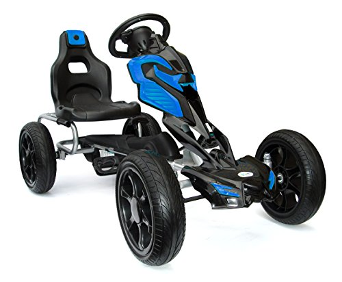 Joy 4 Kids #Scout Kinder Pedal Go-Kart, Rutscher Auto, Pedal Go Cart, Shaum Reifen Eva Wheels 5-12 Jahre blau