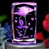 Berry Presidente® 3d grabado con láser giratorio rosa con control remoto 7-LED luces de colores MP3Base