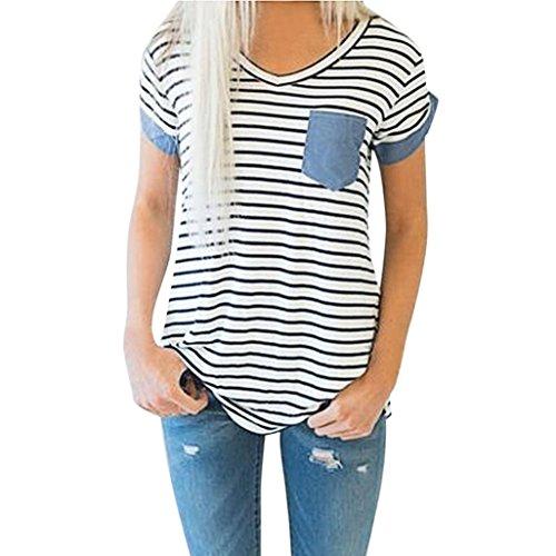 VEMOW Heißer Verkauf Mode Frauen Damen Sommer Casual Kurzarm Gestreiften Patchwork Bluse Tops Kleidung - Verkauf Damen Pullover Auf Strickjacke