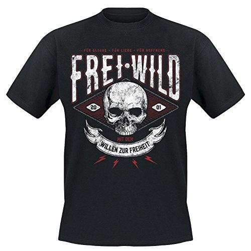 Freiheit Schwarzes T-shirt (Frei.Wild -Willen zur Freiheit T-Shirt, Farbe: Schwarz, Größe: S)
