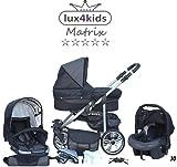 Chilly Kids Matrix II Kinderwagen Komplettset (Autositz & Adapter, Regenschutz, Moskitonetz, Schwenkräder) 30 Schwarz & Grafit