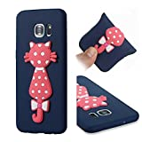 CMAOS Galaxy S7 Edge Case, Unique Custom Cool Design Protective Case, personalised pattern cartoon cat, kitty, animal, TPU Case [Full Body Protective] [Anti-Scratch] [Shatter-Proof] Cover For Samsung Galaxy S7 Edge [With Free Tempered Glass Screen Protector] - (Blue)