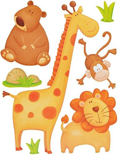 Preisvergleich Produktbild 7 tlg. Set Wandtattoo / Sticker - Giraffe Zootiere Affe Elefant Zebra Löwe - Wandsticker Aufkleber - Giraffen Zootiere