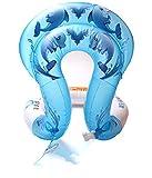 Sommer aufblasbare Schwimmen Halsband Ring Sicherheit Schwimmen Ring aufblasbare Schwimmen Aid Weste für Kinder Kleinkind Erwachsene Dolphin Muster Badeanzug, blau