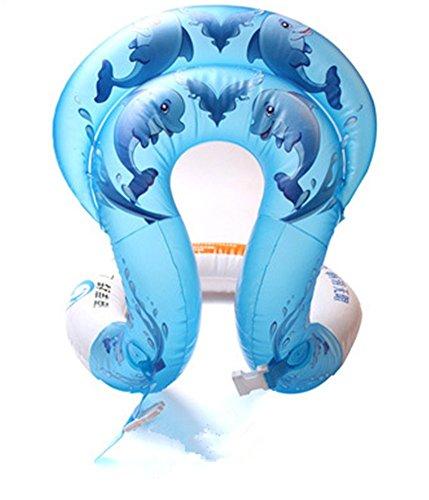 Sommer aufblasbare Schwimmen Halsband Ring Sicherheit Schwimmen Ring aufblasbare Schwimmen Aid Weste für Kinder Kleinkind Erwachsene Dolphin Muster Badeanzug, blau (Badeanzug Erwachsene)