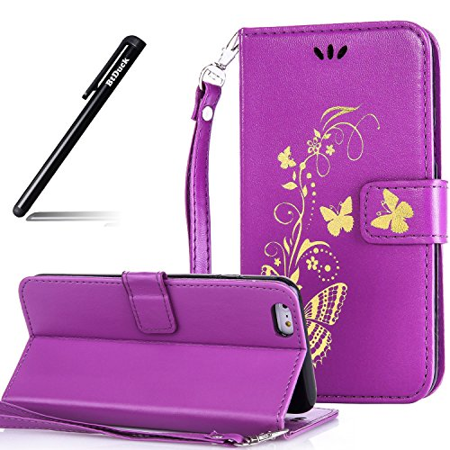 Custodia Pelle per iPhone 6 Plus 5.5,Simpatico Cartone Animato Modello Case per iPhone 6S Plus,BtDuck Ultra Slim Morbida PU Leather Flip Libro Bookstyle Wallet Portafoglio Supporto Stand Porta Carte C #2 Porpora