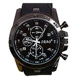 Ularma Moda Acero inoxidable de hombres modernos lujo Sport de cuarzo analogico reloj de muñeca de moda (negro)