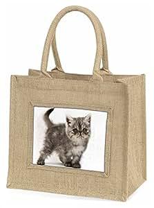 Advanta Silber Exotic Kätzchen Große Einkaufstasche Weihnachten Geschenk Idee, Jute, beige/natur, 42x 34,5x 2cm
