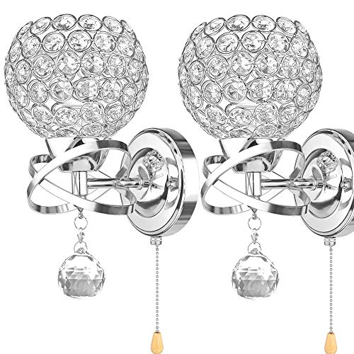 ALLOMN Moderne Wandleuchte, Kristall Anhänger Wandleuchte Schlafzimmer Gang Wohnzimmer Wandleuchte Halter E14 Sockel (Glühbirne Nicht Enthalten) (Mit Zugschalter) - Wandleuchte Halter