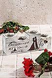 LaModaHome 100% Holz-(32x 7,9cm 13cm) Love Mann Frau Paar Stempel Paris Eiffelturm Kerzenhalter für Verwenden Oder als Decor, Geschenke für Hochzeit, Party, Haus, Spa, Aromatherapie