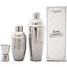 Premium Cocktail Shaker Set by Trendy Bartender - Set of Two Professional Stainless Steel Shakers 24 & 12 fl Oz With Built In Strainer - Double Jigger Included - Bonus Cocktail Recipe e-Book (Silver)