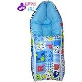 HEAVEN'S CARE Apple Rabbit Blue ZIPPER Baby Bedding Set Cum Sleeping Bag, Bed For Just Born Babys, 3 In 1 Bed Cum Bedding Set / Baby Carrie