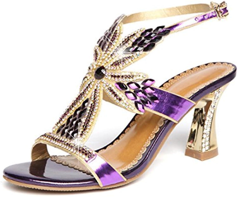 CYGG Ms High Heels Rhinestone Flower Cross Belt Sexy Fashion Kitten Sandalias de tacón , purple , 34