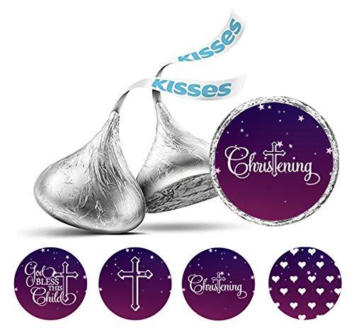 Darling Souvenir 190 Pcs Sakrament Taufe Thema Aufkleber Hershey Kisses Süßigkeit Labels-Lila-Weiß