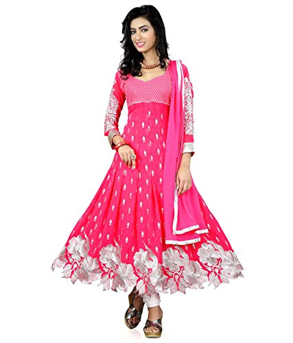 Purva Art Womens New Rose Pink Anarkali Dress (PA_40004_Pink_Cutwork_Dress_Work_Embroidery _Color_Pink_Size_Free Size)