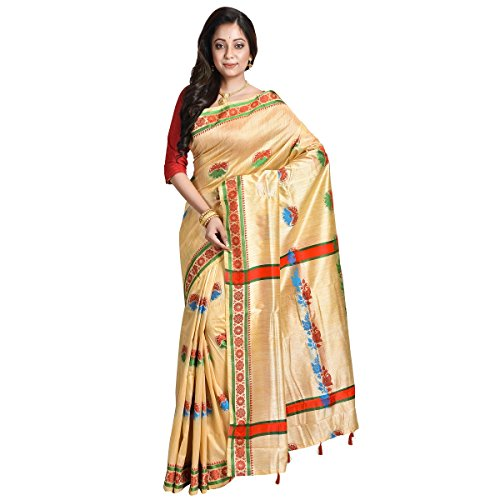 Avik Creations Silk Saree With Blouse Piece (Ac-734_Red, Green, Yellow_Free Size)