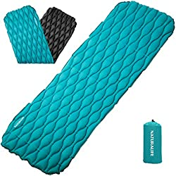 Naturalife Colchón Inflable para Dormir fácil de inflar para Camping, mochileros, Excursionismo, Azul-Verde en la Parte Superior y Negra en la Inferior
