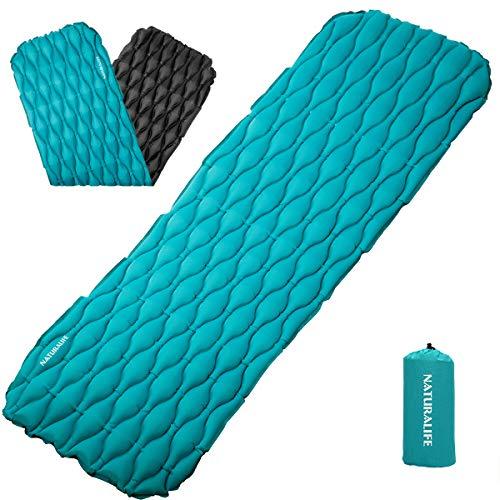 Naturalife materassino gonfiabile facile da gonfiare per campeggio, viaggi ed escursioni, sopra blu-verde e sotto nero