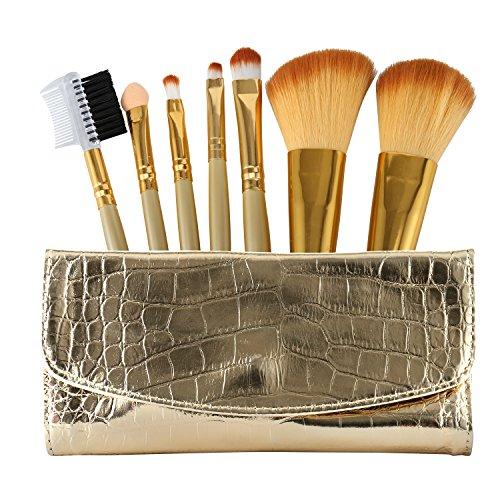 Anne 7pcs Make-up Pinsel Set Profi Holz Griff Premium Synthetic Kabuki Foundation Blending Blush Concealer Eye Face Liquid Powder Cream Cosmetics Lip Pinsel Pinsel Kit (Gold Fall Tasche) (Eye 14 Leder)