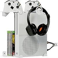 GameSpiderDuo es el soporte de pared para su Xbox® One S creado por Borangame® | Espacio para 8 juegos, 2 pad y el auricular | tornillos incluidos, simple instalación y seguro | Tubo flexible EXCLUSIVO especial para cubrir los cables.