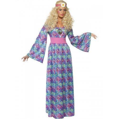 Damen Kostüm 1960er 1970er Hippie Hippy Langes Kleid Maxi Blumenkind Verkleidung Kostüm EU 36-50 Übergröße - Blau, EU 48-50 (Damen Blumenkind Kostüm)