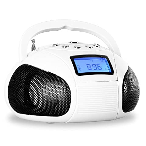 oneConcept Bamboombox Mini-radio SD USB Bluetooth -blanche