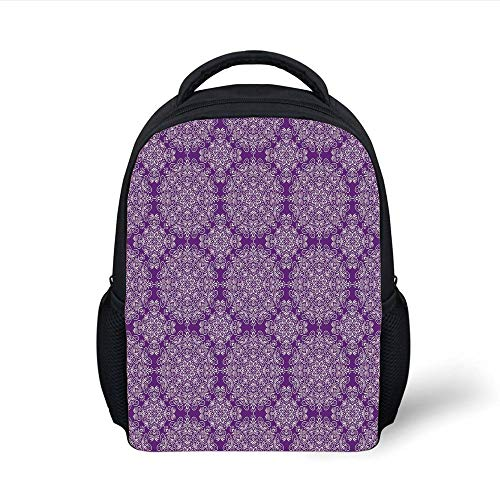 Kids School Backpack Purple Mandala,Classic Style Victorian Swirled Floral Branches Ethnic Effects Design Decorative,White Purple Plain Bookbag Travel Daypack -