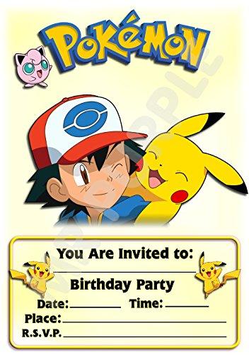 Pokemon Geburtstagseinladungen-Querformat - Pikachu-Design-Party-Zubehör (12er-Pack A5-Einladungen)
