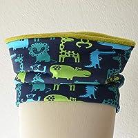 """FleeceLoop Schal Kind""""Zootiere grün blau Junge"""" für 1-4 Jährige"""