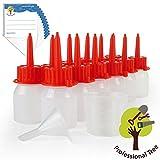 ProfessionalTree flaconcini contagocce da 12x30 ml con imbuto, misurino, 12 etichette - conservare e dosare sostanze liquide - qualità LDPE