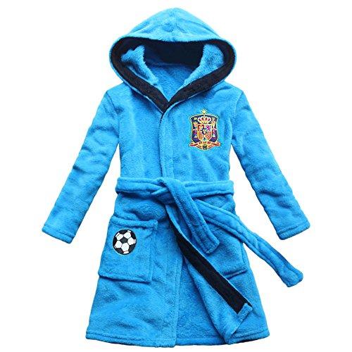 [FEETOO] Equipo de fútbol de España Bata de niño bordado Toga de dormir para niños (10, blue)