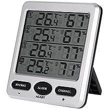Anself - LCD Termohigrómetro Digital de 433MHz 8 Canales Interior / Exterior con Tres Sensores Remotos de Función Alarma Termómetro Higrómetro Nivel de Confort