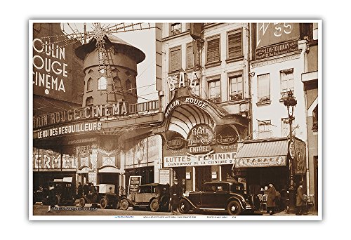 Pacifica Island Art Moulin Rouge Theater und Kino - Paris, Frankreich - Vintage Retro Kabarett Casino Plakat c.1930s - Kunstdruck - 33cm x 48cm Theater Moulin Rouge